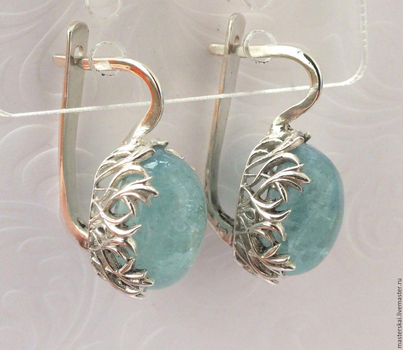Earrings 'Aquilani'- aquamarine, silver 925, Earrings, Moscow,  Фото №1