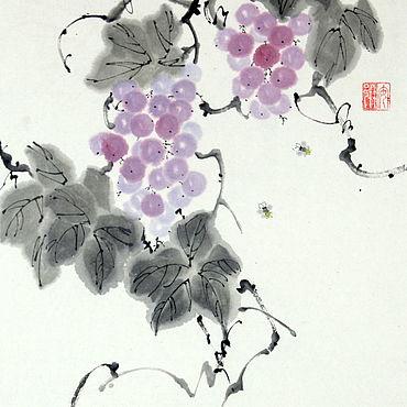 Картины и панно ручной работы. Ярмарка Мастеров - ручная работа Китайская живопись Пчелы и виноград (картина акварель подарок паре). Handmade.