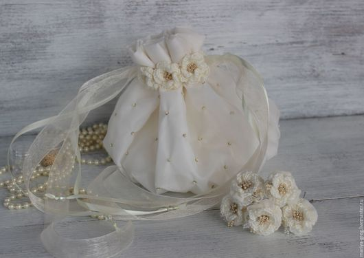 Свадебная сумочка. Шампань. Свадебные аксессуары. Свадебные украшения. Для невесты.