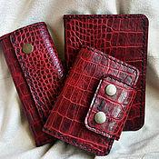 Визитницы ручной работы. Ярмарка Мастеров - ручная работа Набор из кожи (обложка паспорт, визитница, ключница). Handmade.