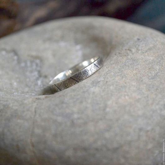 Кольца ручной работы. Ярмарка Мастеров - ручная работа. Купить Листик - кольцо из серебра с текстурой прожилок. Handmade. Серебряный