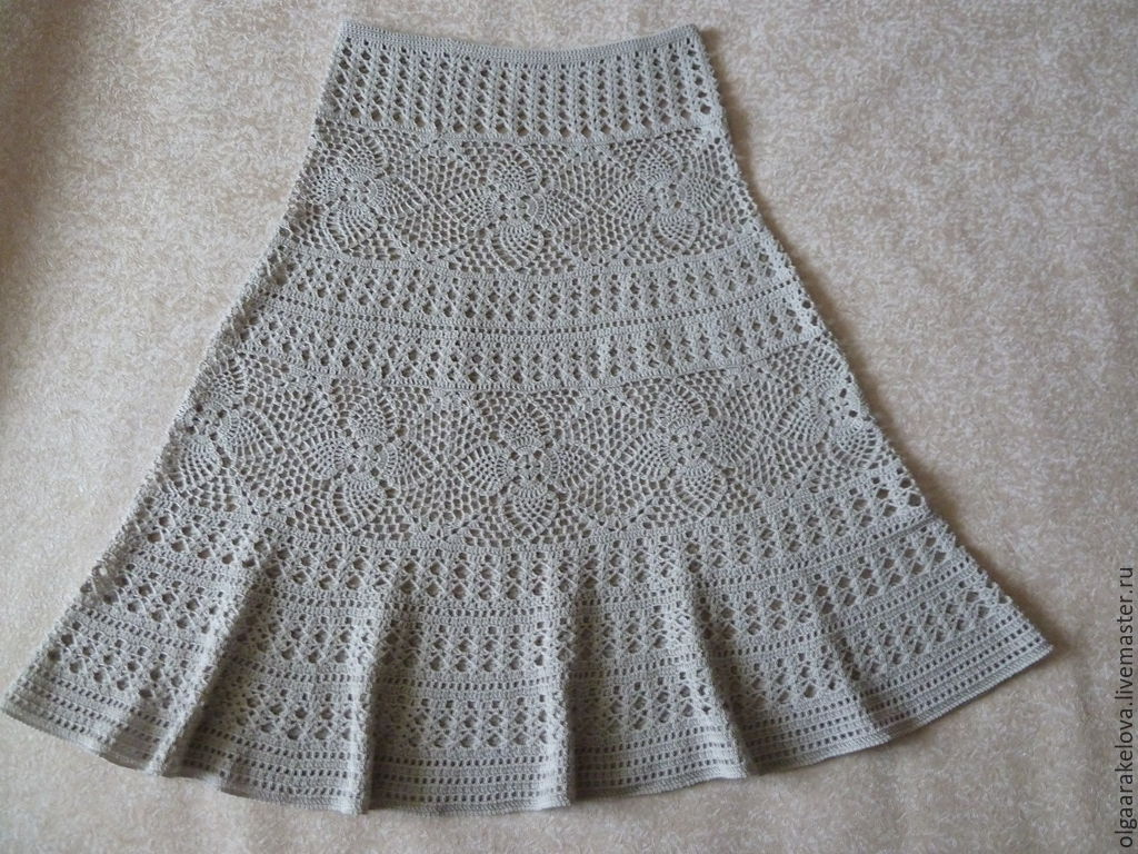 Серая ажурная юбка