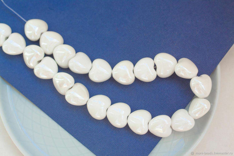 Керамические бусины в форме сердца, белые, ШТУКА, Бусины, Москва,  Фото №1