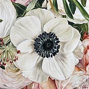 Картины и панно handmade. Livemaster - original item Oil painting Anemone 30h30 cm. Handmade.