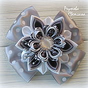 Работы для детей, handmade. Livemaster - original item Bows Schoolgirl (grey) for a girl. Handmade.