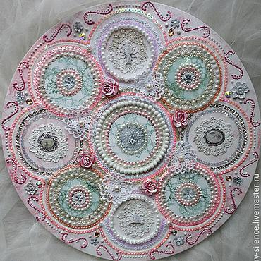 Картины и панно ручной работы. Ярмарка Мастеров - ручная работа Объемная розовая картина с вышивкой Винтажное кружево. Handmade.