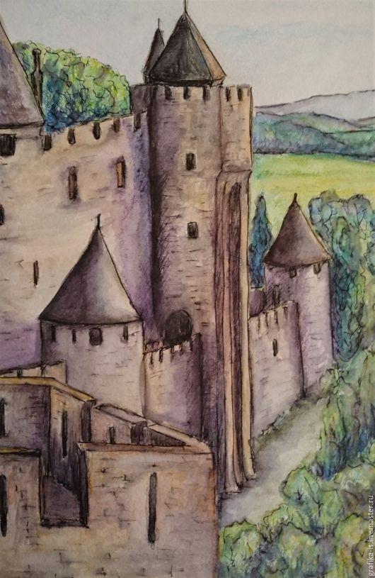 Пейзаж ручной работы. Ярмарка Мастеров - ручная работа. Купить Замок Каркассон. Акварельная графика. Handmade. Комбинированный, замок, пейзаж