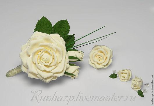 Броши ручной работы. Ярмарка Мастеров - ручная работа. Купить Брошь (бутоньерка)с розами из полимерной глины. Handmade. Красная роза