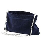 Сумки и аксессуары handmade. Livemaster - original item Blue suede Clutch with chain cosmetic Bag on flexible wallet frame. Handmade.