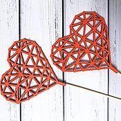 Декор для флористики ручной работы. Ярмарка Мастеров - ручная работа Топпер сердце резное. Handmade.