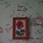 Картины и панно ручной работы. Ярмарка Мастеров - ручная работа Мак (вышивка крестом). Handmade.