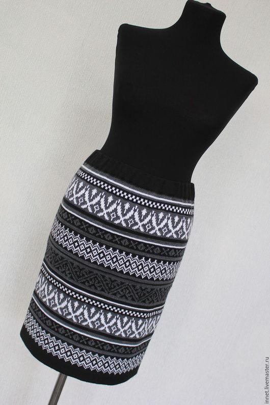 Юбки ручной работы. Ярмарка Мастеров - ручная работа. Купить Юбка вязаная с орнаментом, жаккардовая юбка. Handmade. Чёрно-белый