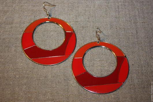 """Винтажные украшения. Ярмарка Мастеров - ручная работа. Купить Серьги """"Геометрия красные"""" винтаж крупные. Handmade. Красные серьги, серьги"""