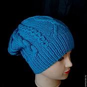 Аксессуары ручной работы. Ярмарка Мастеров - ручная работа Голубая вязаная шапка с аранами. Handmade.