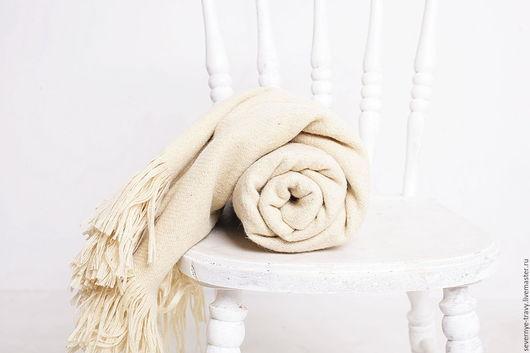 Текстиль, ковры ручной работы. Ярмарка Мастеров - ручная работа. Купить Плед шерстяной белый. Handmade. Плед