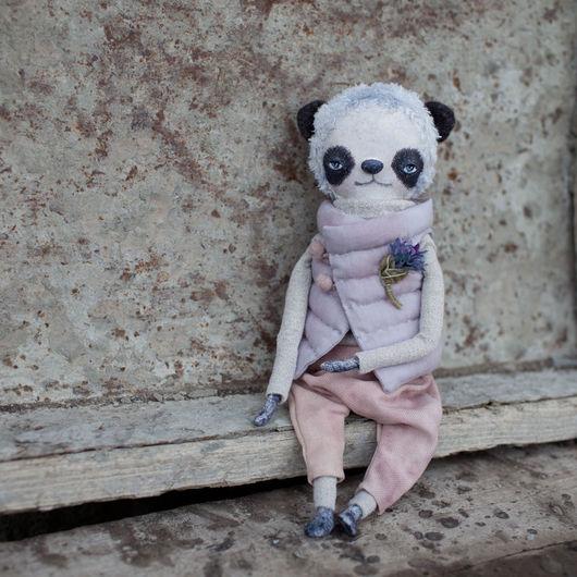 Коллекционные куклы ручной работы. Ярмарка Мастеров - ручная работа. Купить Панда Черничные штаны. Handmade. Комбинированный, опилки, Паперклей