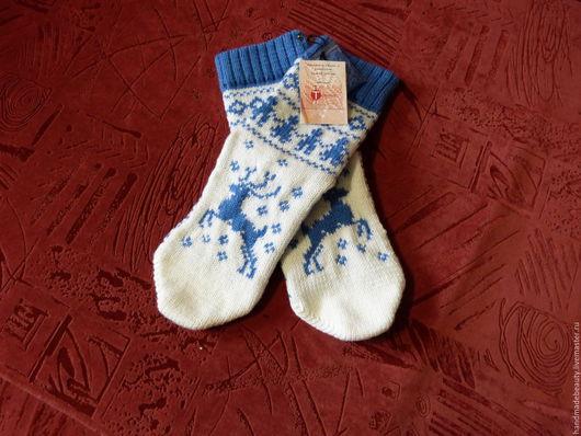 Носки, Чулки ручной работы. Ярмарка Мастеров - ручная работа. Купить Носки Олени (бело-голубые). Handmade. Синий, носочки