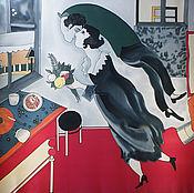 Shawls1 handmade. Livemaster - original item Batik shawl birthday. Chagall. Handmade.
