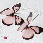 Украшения ручной работы. Ярмарка Мастеров - ручная работа Серьги с розовыми бабочками. Handmade.