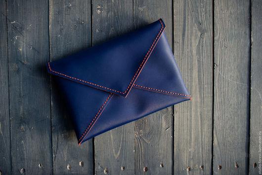"""Женские сумки ручной работы. Ярмарка Мастеров - ручная работа. Купить Клатч-конверт """"Грани"""". Handmade. Тёмно-синий, рыжий"""