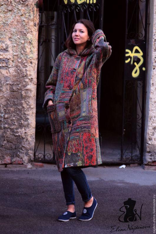 """Верхняя одежда ручной работы. Ярмарка Мастеров - ручная работа. Купить авторское валяное пальто в технике """"пэчворк """". Handmade."""