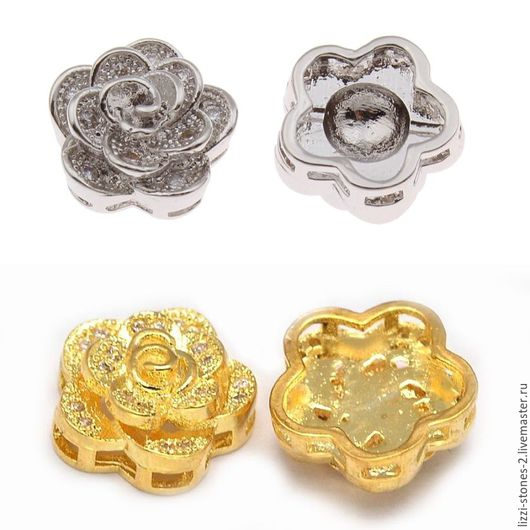 Бусина Цветочек золото и серебро (Milano) Евгения (Lizzi-stones-2)