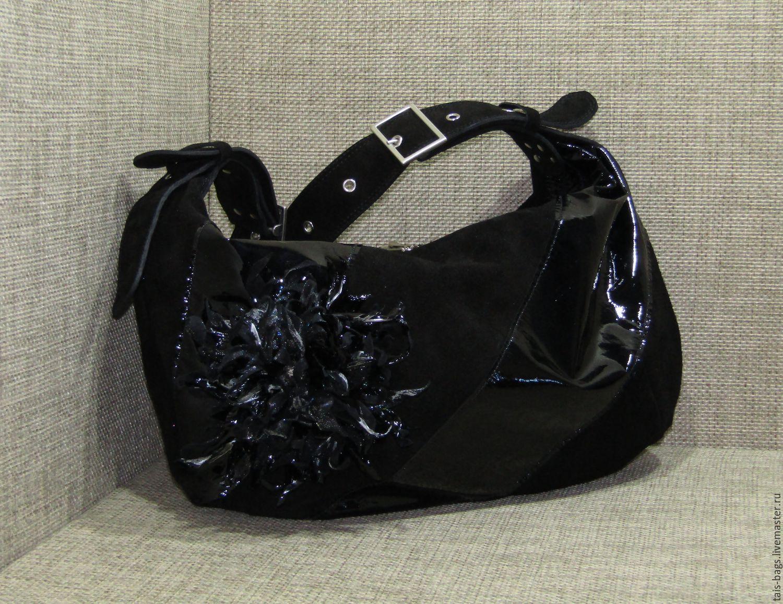 Suede women's bag CLAUDIA black, Classic Bag, Izhevsk,  Фото №1