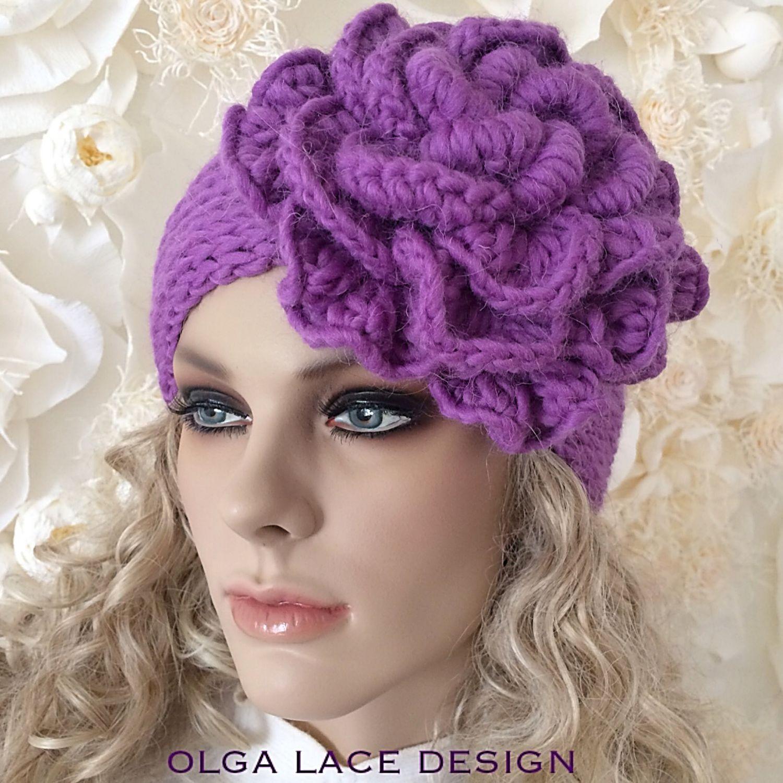 """Вязаная повязка """"Beauty Flower - wool"""" от Olga Lace, Повязки, Москва, Фото №1"""