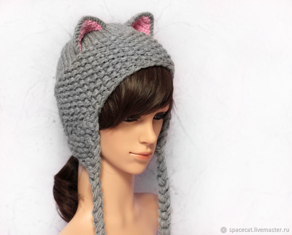 Hat with Cat ears knitted women\'s grey – shop online on Livemaster ...