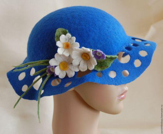 Шляпы ручной работы. Ярмарка Мастеров - ручная работа. Купить шляпка ЛЕТО. Handmade. Синий