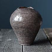 Для дома и интерьера ручной работы. Ярмарка Мастеров - ручная работа Керамическая ваза в полоску. Handmade.