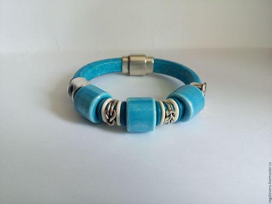 """Браслеты ручной работы. Ярмарка Мастеров - ручная работа. Купить браслет в стиле регализ """"Голубая волна"""". Handmade. Голубой"""