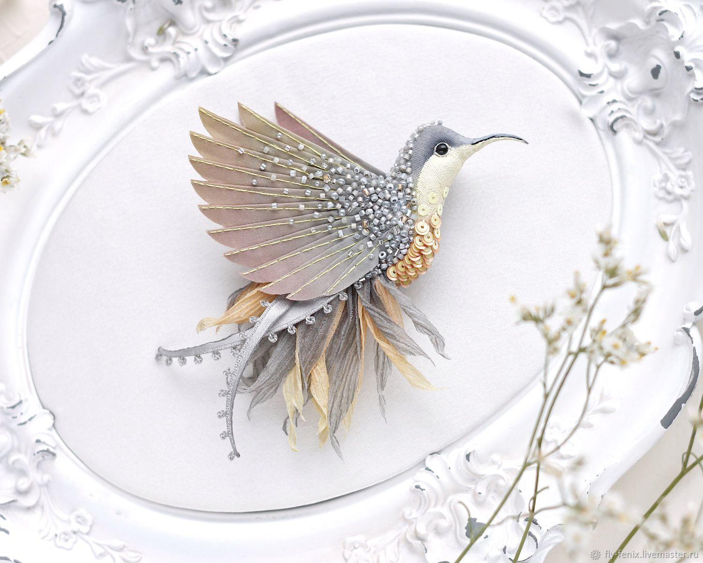 Брошь - птица колибри. Дымка, Брошь-булавка, Москва,  Фото №1