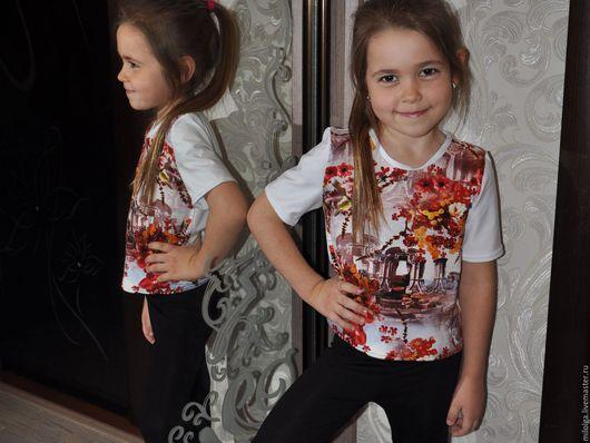 Одежда для девочек, ручной работы. Ярмарка Мастеров - ручная работа. Купить Футболка летняя- Рим. Handmade. Белый, футболка с рисунком