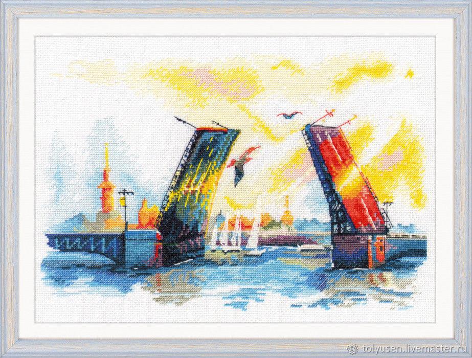 """""""Дворцовый мост"""" вышитая картина, Картины, Санкт-Петербург, Фото №1"""