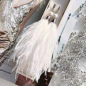 Украшения handmade. Livemaster - original item Unicorn white milky snow white pearl rhodium feathers earrings. Handmade.