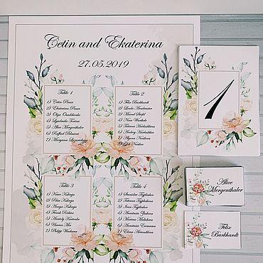 Свадебный салон ручной работы. Ярмарка Мастеров - ручная работа План рассадки, визитки, нумерация на стол. Handmade.