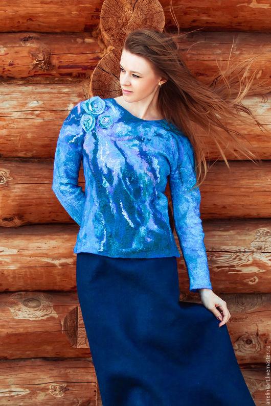 """Кофты и свитера ручной работы. Ярмарка Мастеров - ручная работа. Купить Валяный джемпер """"Афродита"""". Handmade. Синий, джемпер"""