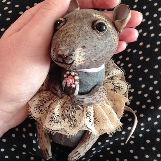 Коллекционные куклы ручной работы. Ярмарка Мастеров - ручная работа. Купить Мышка малютка Алёнушка ручная работа деревянная игрушка. Handmade.