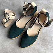 Обувь ручной работы handmade. Livemaster - original item Cosmo sandals dark green suede / beige two removable belts. Handmade.