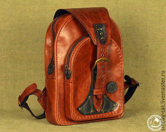 Рыжий женский рюкзак из кожи.