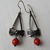 handmade. Livemaster - original item Bow earrings, nickel silver, 1970s. Handmade.