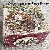 Для дома и интерьера ручной работы. Ярмарка Мастеров - ручная работа коробочка шкатулка Новый год для мелочей красный  клетка декупаж. Handmade.