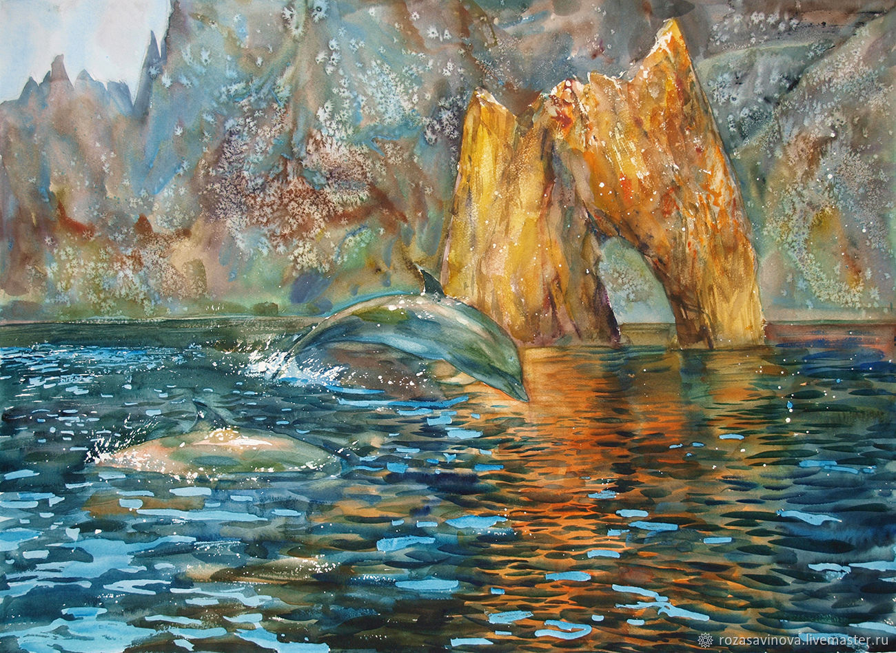 Watercolor painting Golden gate of Karadag. Seascape, Pictures, Magnitogorsk,  Фото №1