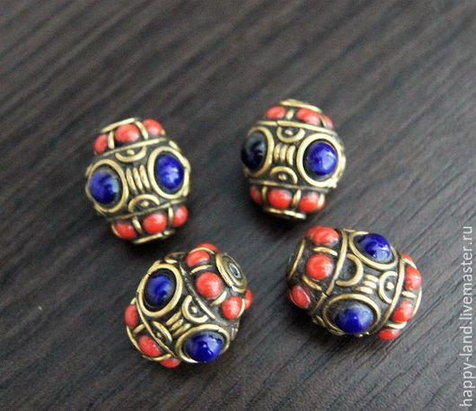 Для украшений ручной работы. Ярмарка Мастеров - ручная работа. Купить Непальская бусина с кораллом и лазуритом. Handmade. Комбинированный, эмаль