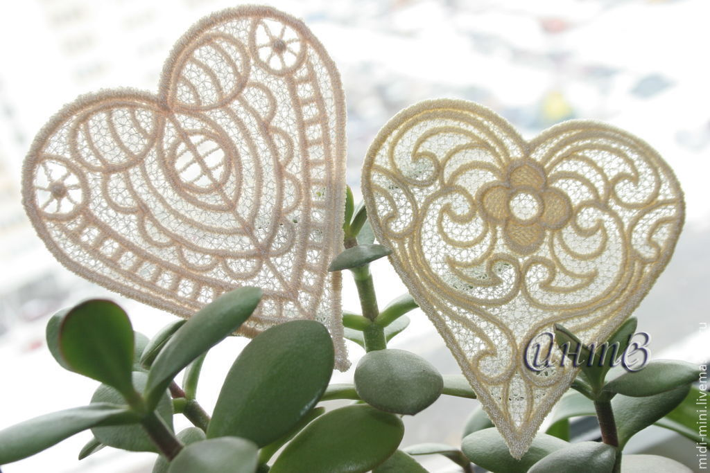 Embroidery applique heart patch FSL free, Lace, Moscow,  Фото №1