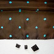 Аксессуары ручной работы. Ярмарка Мастеров - ручная работа Шоколад и бирюза - шелковый платок с ручной росписью. Handmade.