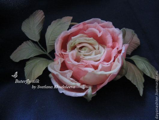 """Броши ручной работы. Ярмарка Мастеров - ручная работа. Купить Чайная роза """"Жюли"""". Шелк. Handmade. Розовый, заколка цветок"""