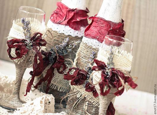 Свадебные аксессуары ручной работы. Ярмарка Мастеров - ручная работа. Купить Свадебный набор из  с натуральной лавандой. Handmade. Комбинированный