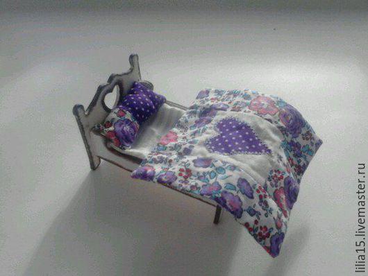 Миниатюра ручной работы. Ярмарка Мастеров - ручная работа. Купить Кукольная кроватка (миниатюра). Handmade. Белый, кроватка для куклы, для девочки